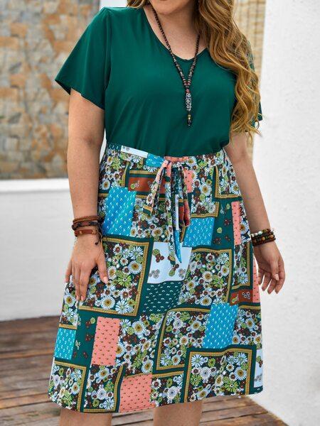Plus Contrast Patchwork Hem A-line Dress