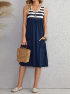 Striped Dual Pocket Smock Dress