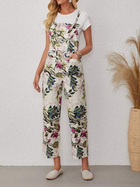 Plants Print Knot Overall Jumpsuit