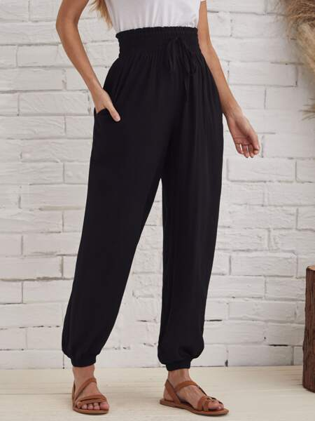 Shirred Waist Lantern Pants