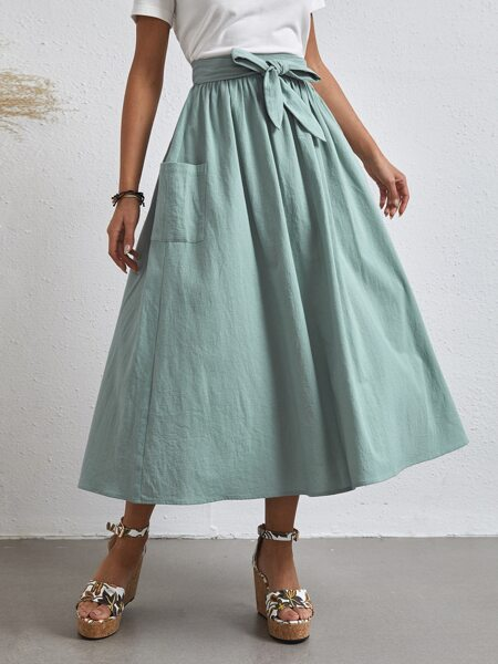 Self Belted Pocket Side Skirt