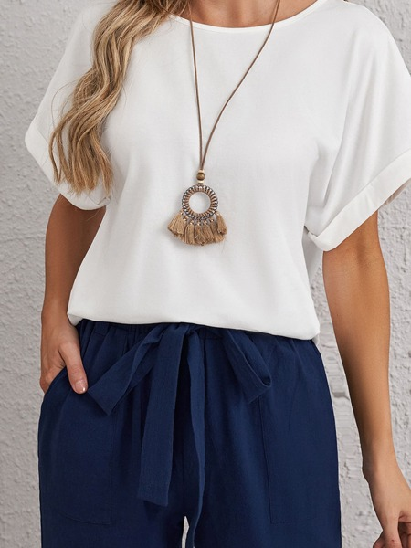 Rolled Sleeve Solid Tee