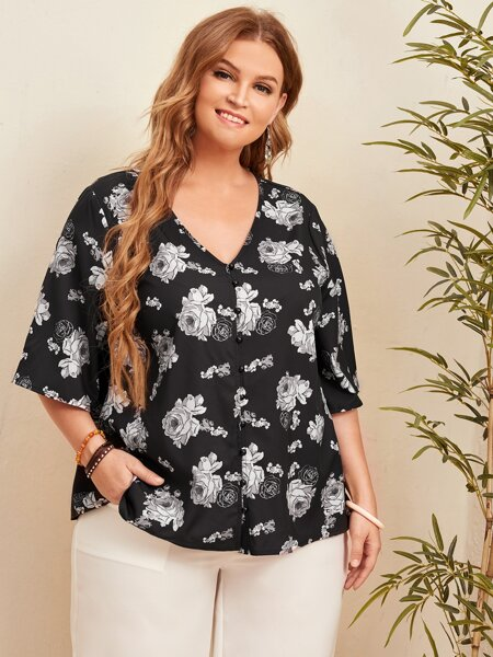 Plus Flower Print Cover Up Top