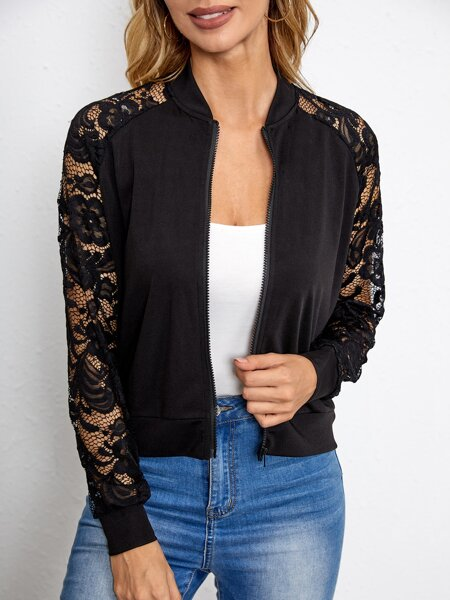 Contrast Lace Panel Bomber Jacket