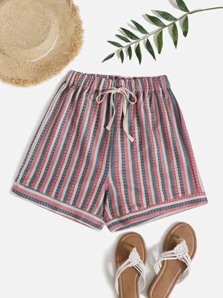 Striped Drawstring Waist Shorts