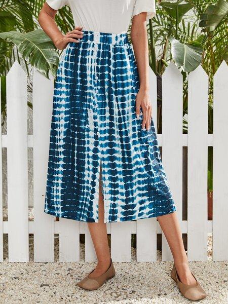 Tie Dye Split Front Skirt