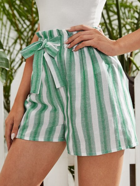 Striped Tie Front Paper Bag Shorts