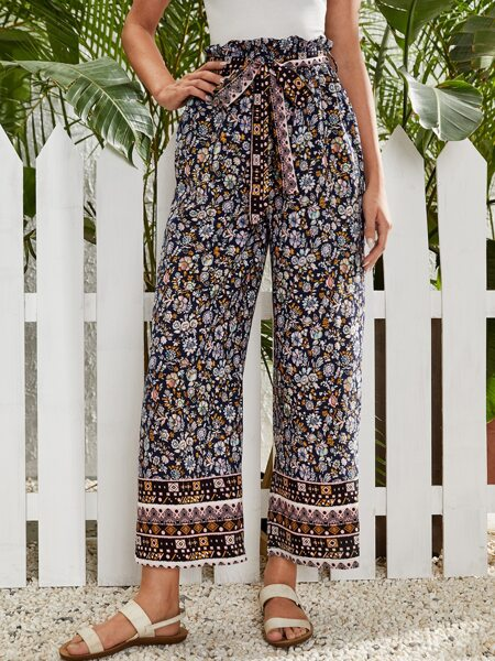 Floral Print Paper Bag Waist Belted wide Leg Pants