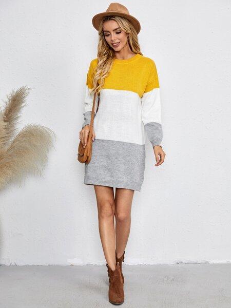 Colorblock Drop Shoulder Sweater Dress
