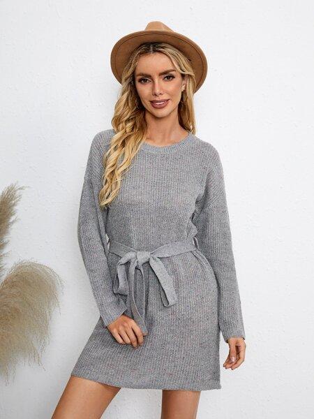 Drop Shoulder Belted Sweater Dress