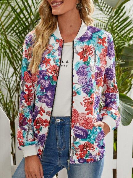 Allover Floral Print Bomber Jacket