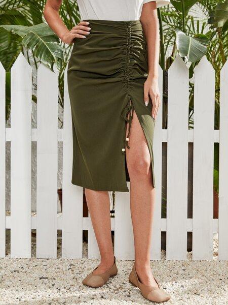 Solid Drawstring Split Skirt