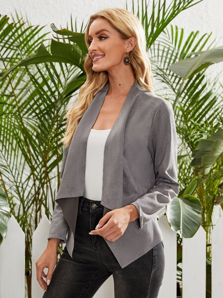 Suede Solid Waterfall Collar Jacket