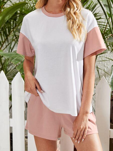Contrast Binding Drop Shoulder Tee & Shorts