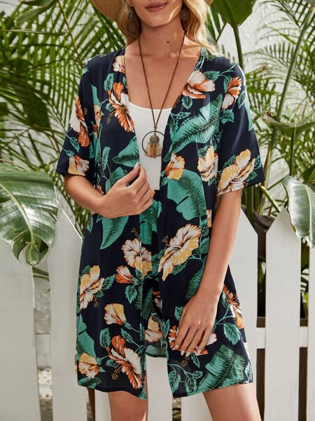 Tropical Print Coat & Shorts Without Tee