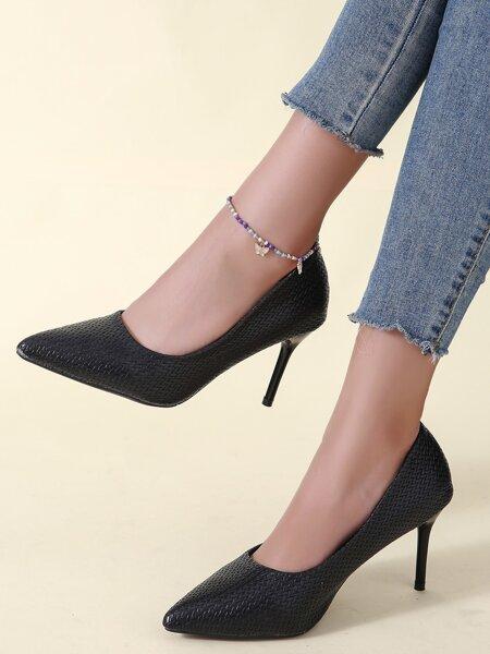 Braided Stiletto Court Heels