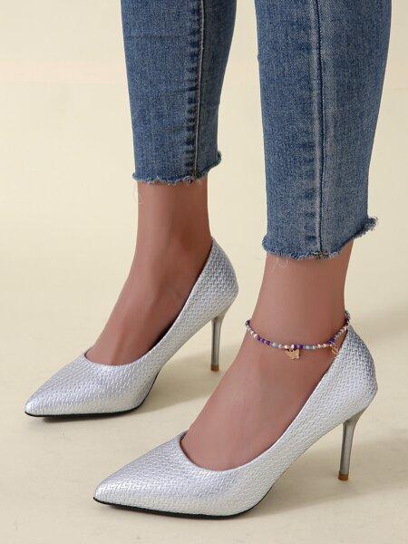 Metallic Braided Stiletto Court Heels