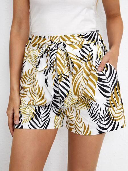 Plants Print Tie Front Shorts