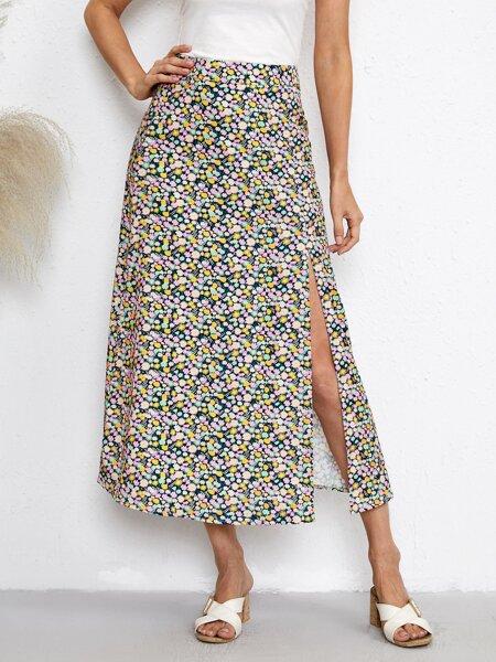 Ditsy Floral Split Skirt
