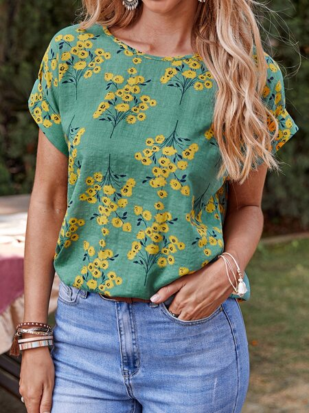 Rolled Cuff Floral Print Top