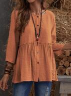 Button Up Frill Babydoll Blouse