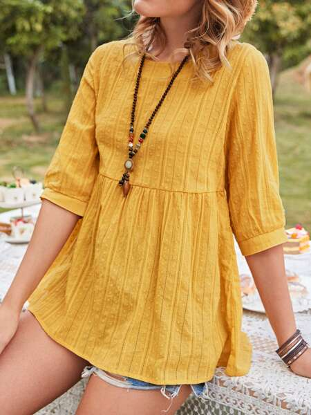 Solid Round Neck Babydoll Blouse