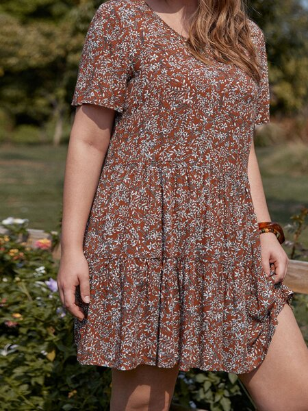 Plus All Over Floral Print Smock Dress