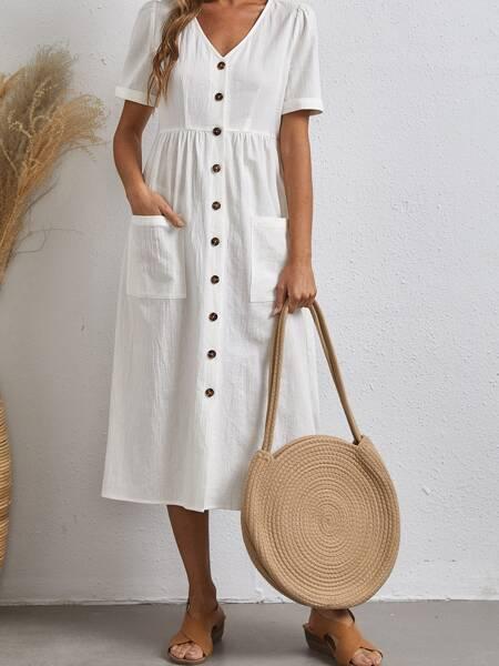 Single Breasted Pocket Front Dress