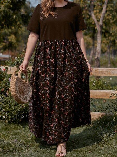 Plus Contrast Floral Maxi Smock Dress