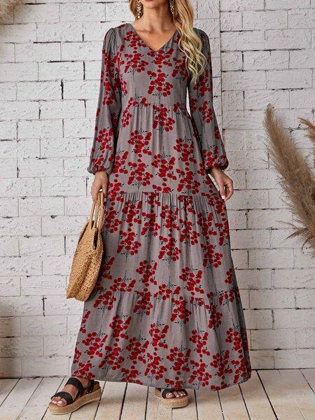 Floral Bishop Sleeve V Neck Dress