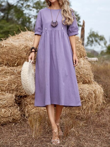 Solid High Waist  Smock Dress