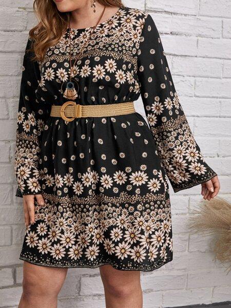 Plus Floral Print A-line Dress Without Belt