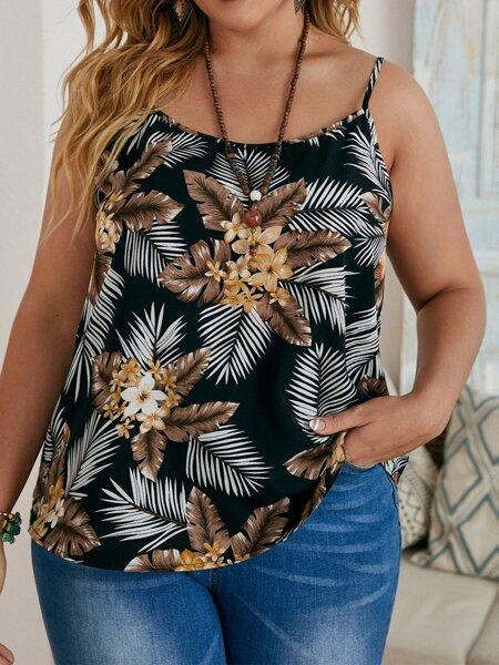 Plus Tropical Print Cami Top