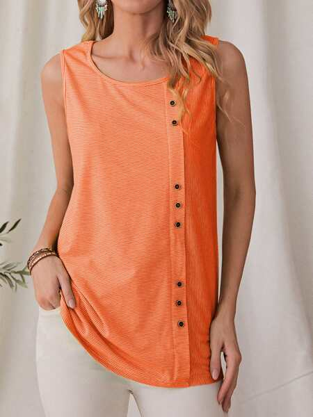 Striped Button Front Tank Top