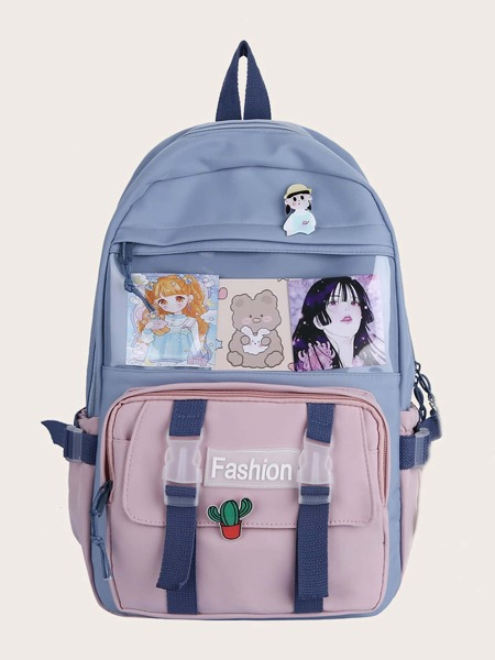 Cartoon Decor Colorblock Backpack
