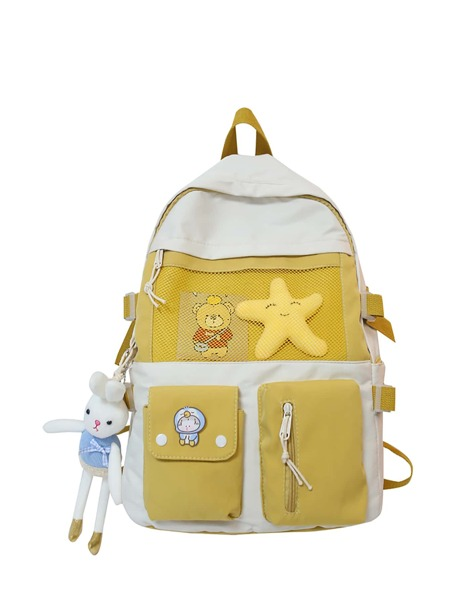 Doll Decor Colorblock Backpack