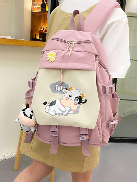 Doll Decor Cartoon Graphic Flap Backpack