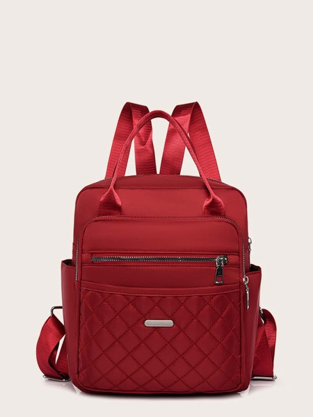 Minimalist Pocket Front Quilted Backpack