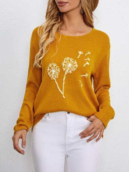 Dandelion Pattern Drop Shoulder Sweater