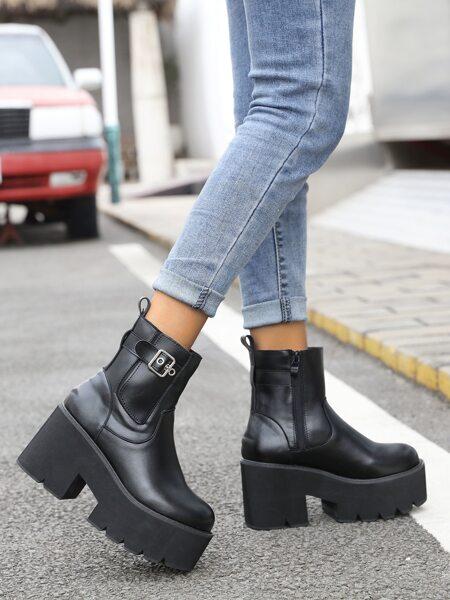 Minimalist Buckle Detail High Heeled Boots