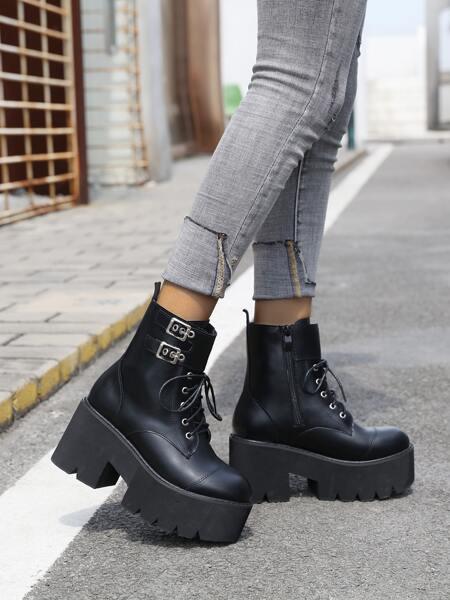 Minimalist Buckle Detail Boots