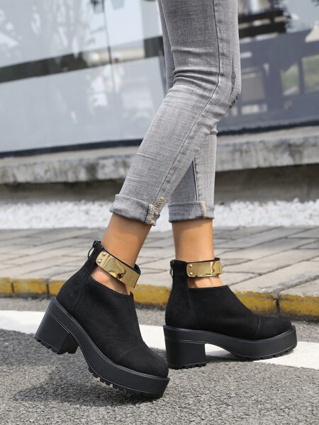 Metal Decor Ankle Strap Boots