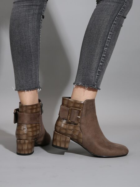 Buckle Decor Croc Embossed Chunky Boots