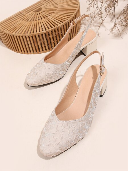 Minimalist Ruched Detail Slingback Mules Heels