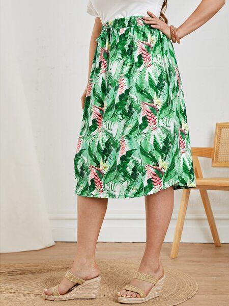 Plus Tropical Print Knot Waist Skirt