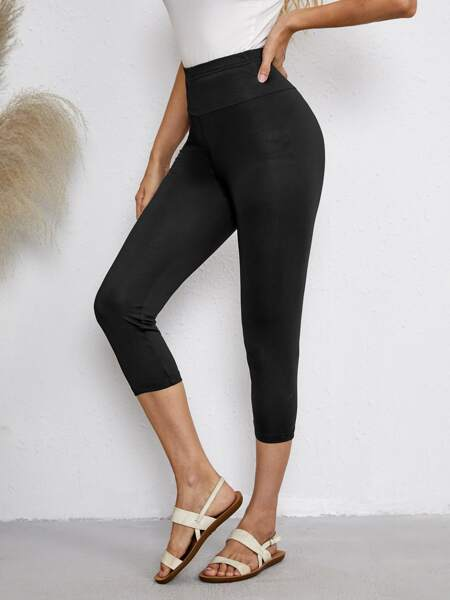 Solid Wide Waistband Leggings