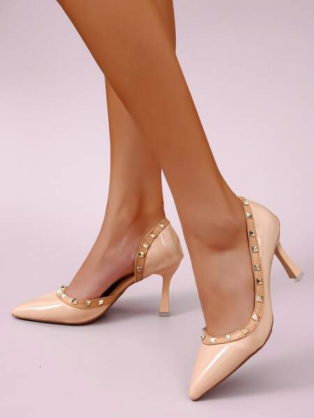 Studded Decor Stiletto Court Heels
