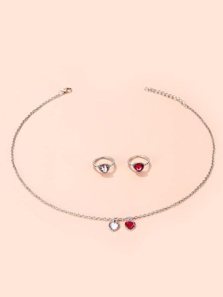 3pcs Heart Decor Jewelry Set