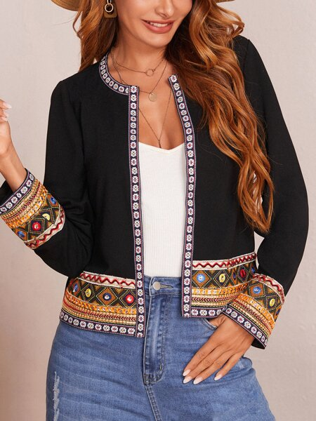 Contrast Embroidered Tape Trim Open Front Jacket