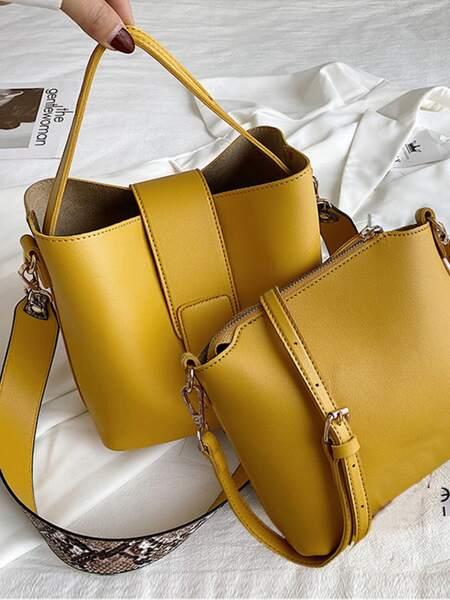 Snakeskin Print Satchel Bag & Crossbody Bag